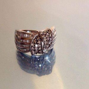 Chocolate and white diamond 14k white gold ring